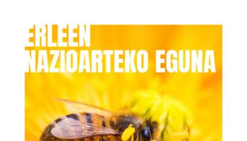 portada de una abeja polinizando